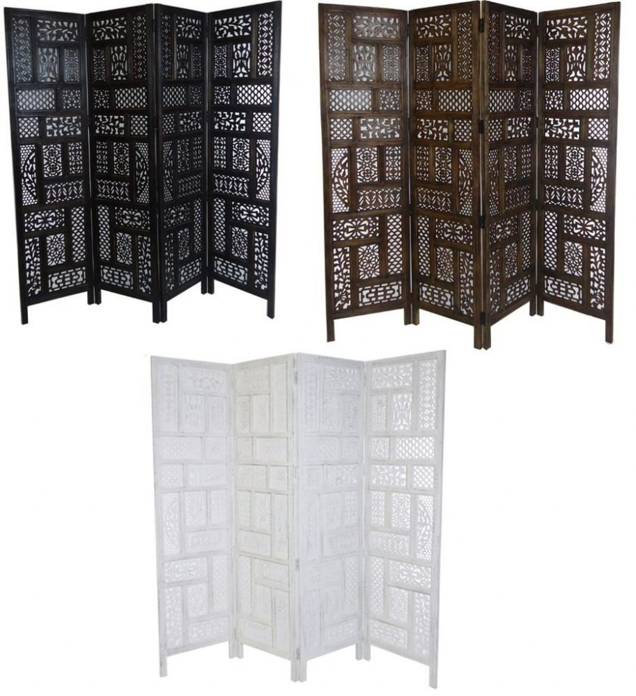 4 Panel Hand Carved Indian Screen Wooden Screen Divider